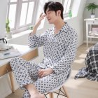 Men Winter Spring and Autumn Cotton Long Sleeve Casual Home Wear Pajamas Homewear 8824 blue_XXL