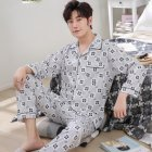 Men Winter Spring and Autumn Cotton Long Sleeve Casual Home Wear Pajamas Homewear 8801 blue_XL
