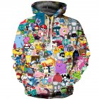 Men Women 3D Digital Printing Hooded Sweatshirts color_2XL