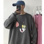 Men Women Cartoon Sweatshirt Tom and Jerry Crew Neck Printing Loose Pullover Tops Dark gray_XXL