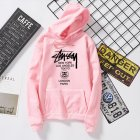 Men Women Couples Cool Stylish Letter Printing Long Sleeve Casual Sports Fleece Hooded Sweatshirts Pink_XL