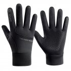 Men Women Gloves Anti Slip Waterrpoof Warm Touchscreen Outdoor Riding Gloves black_One size