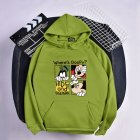 Men Women Hoodie Sweatshirt Micky Mouse Cartoon Thicken Autumn Winter Loose Pullover Green_M