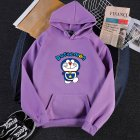 Men Women Hoodie Sweatshirt Doraemon Cartoon Thicken Loose Autumn Winter Pullover Tops Purple L