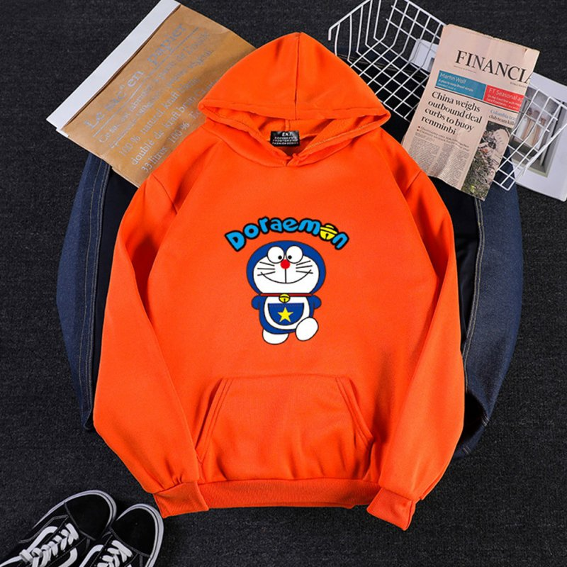 Men Women Hoodie Sweatshirt Cartoon Doraemon Thicken Loose Autumn Winter Pullover Tops Orange_L