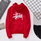 Men Women Lovers Fleece Thicken All Match Casual Sweatshirts Top Coat for Students Red 991#_M