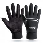 Men Women Waterproof Gloves Warm Touch Screen Gym Fitness Full Finger Gloves for Running Jogging Cycling Ski  black_One size