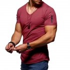 Men Youth Solid Color V Collar Elastic Short Sleeve T Shirt Wine red_XL