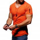 Men Youth Solid Color V Collar Elastic Short Sleeve T Shirt Orange_XXL