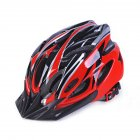 Men and Women Cycling Helmet Integrally-molded for Mountain Road and Sports Red black_One size