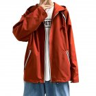 Men's Jacket Autumn Loose Solid Color Large Size Hooded Cardigan Orange_M