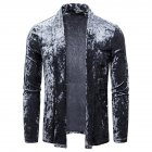 Men's Jacket Basic Fit Type Long-sleeve Lapel Mid-length Cardigan Dark gray_M