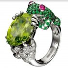 Men's Retro Vintage Frog Ring Artificial Emerald Metal Plated Ring Jewelry Main color_10#