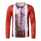 Men's T-shirt 3d Printed Crew-neck Christmas Long-sleeve T-shirt red_2XL