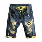 Men's Washing Hole Do Old Casual Denim Shorts Straight Summer Breeches Dark Blue