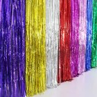 Metallic Fringe Curtain Party Foil Tinsel Home Room Stage Wall Decor Door Decoration 1*3m, Silver