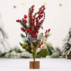 Mini Christmas Tree Shape Gifts Small Tabletop Simulate Berry/Matsuba/Cotton Shape Xmas Tree Decoration Red Fruit A