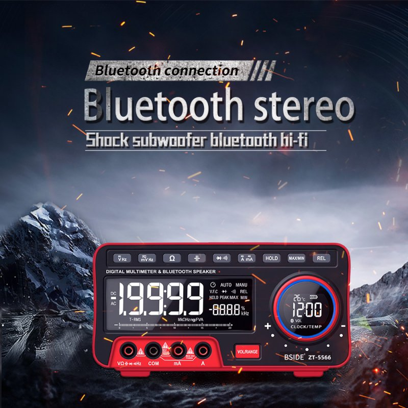 Mini Desktop Multimeter BSIDE ZT-5566 Dual Screen EBTN 19999 Display Multimeter + Wireless Speaker Voltage Current Cap Hz Tester