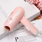 Mini Folding Cartoon Hair Dryer Small Power Portable Traveling Hair Dryer  Pink bunny