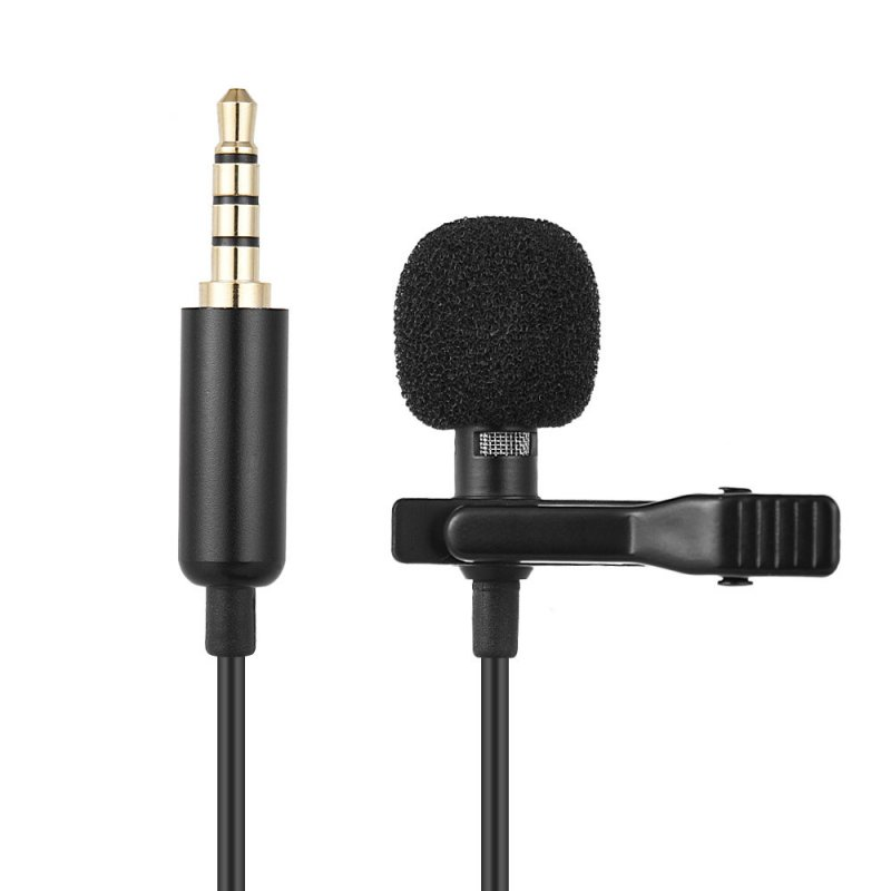 Mini Portable Clip-on Lapel Lavalier Condenser Mic Wired Microphone for DSLR Camera for Cellphone black