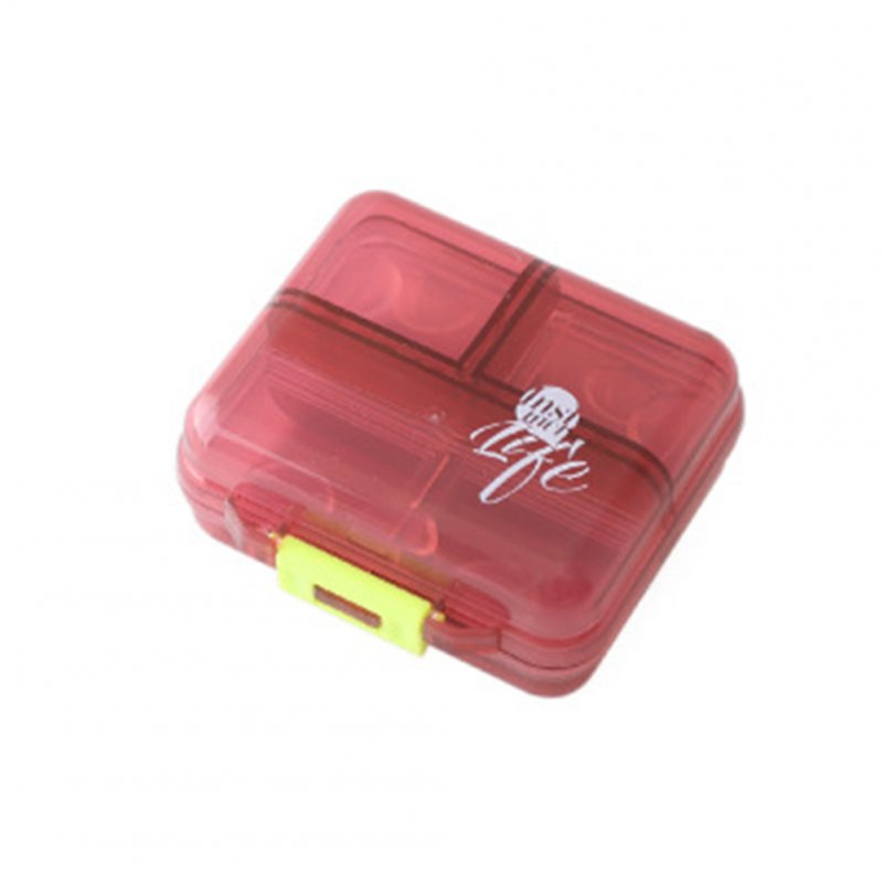 Mini Portable Pill Box Organizer Small Week First Aid Kit for Travel wine red