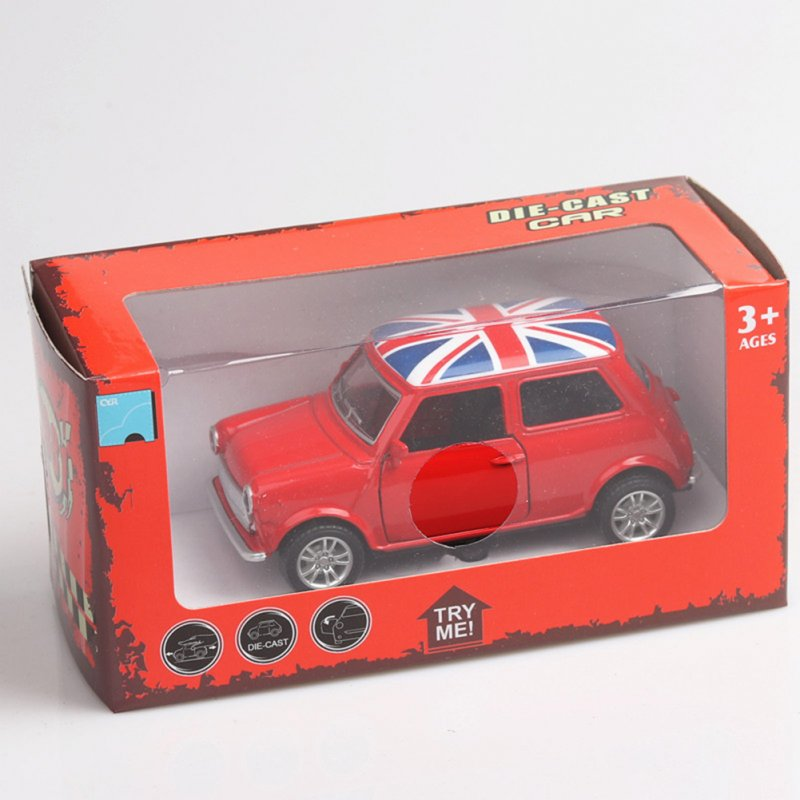 Mini Simulate the Union Flag Pattern Alloy Car Pull Back Door Opening Toy for Boys(Box Packing) red
