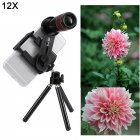Mobile Phone Lens Kit 12X Zoom Telephoto Lens Telescope Camera Lenses Tripod Clip black
