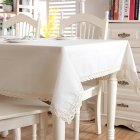 Modern Linen Cotton Solid Color Table Cover with Lace for Banquet Coffee Shop Home Decoration With lace_90X90CM