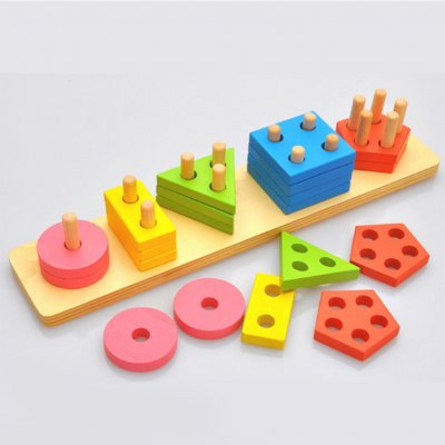 Montessori DIY Building Blocks Toy Smart Wooden Geometric Shape Stacking Toy Kids Educational Play Toy color