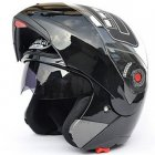 Motorcycle Helmets Flip Up Double Visors Racing Full Face Helmet Bright black L