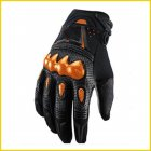 Motorcycle Riding Gloves Motocross Carbon Fibre Leather Racing Gloves Orange_L