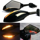 Motorcycle Single LED Turn Lights Side Mirrors Turn Signal Indicator Rearview Mirror For Honda Suzuki Kawasaki Ducati Yamaha  black_Pointed single lamp