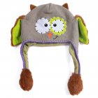 Moving Ears Hat Infant Bomber Hat Sweet Cute Knitted Cartoon Wool Hat Gray Owl_OPP packaging