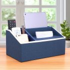 Multi Functional Leather Tissue Box Napkin Holder Tabletop Remote Controller Phone Organize blue linen
