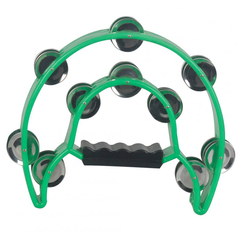 Musical Tambourine Handbell with Double Row Metal Jingles Percussion Drum Party Gift Percussion Instruments green