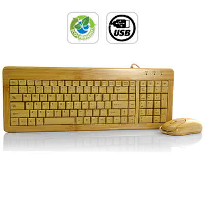 Bamboo Wooden PC Keyboard and Mouse