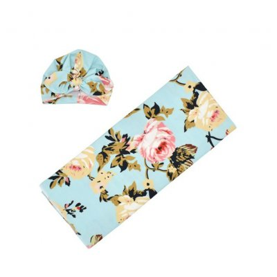 Newborn Photography Blanket Rabbit Ear Cap Blanket set Floral Printing Headgear Blanket set Light blue blankets with flower_80*80
