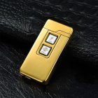 Novelty USB Charge Dual Coil & Arc Plasma Windproof Electronic Charging Lighters gold ice