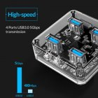 ORICO 3.0 USB 4 Ports Transparent High Speed Hub Adapter for Laptop Macbook HDD Transparent