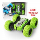 Off-road RC Car Toy Four Wheel Drive Stunt Car with Cool Lights 2.4G Stunt Double-sided Model green_Window Box