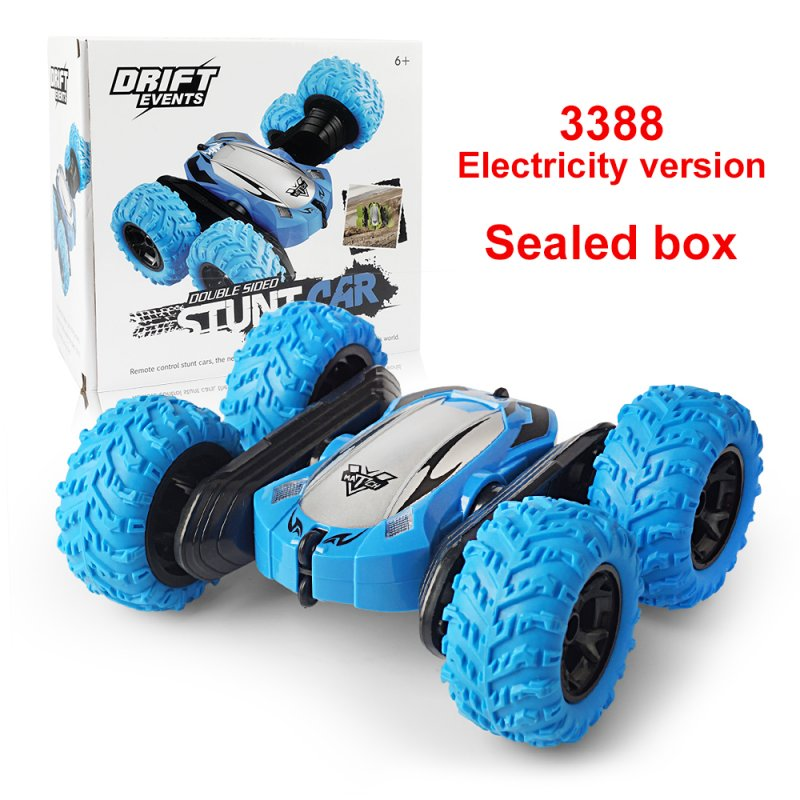 Off-road RC Car Toy Four Wheel Drive Stunt Car with Cool Lights 2.4G Stunt Double-sided Model blue_Sealed box
