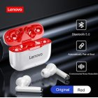 Original Lenovo Wireless Earphones Bluetooth 5.0 TWS LP1 Earbuds 9D Stereo Sound Noise Reduction IPX4 Headsets With Mic  red