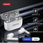 Original Lenovo Wireless Earphones Bluetooth 5.0 TWS LP1 Earbuds 9D Stereo Sound Noise Reduction IPX4 Headsets With Mic  gray