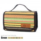 Outdoor Camping Portable Washing Bag Cosmetic Bag Storage Bag Smooth Zipper Fashionable Cotton Linen Mesh Bag Green stripes