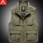 Outdoor Fishing Vest Quick-drying Breathable Mesh Jacket for Photography Hiking Khaki_L