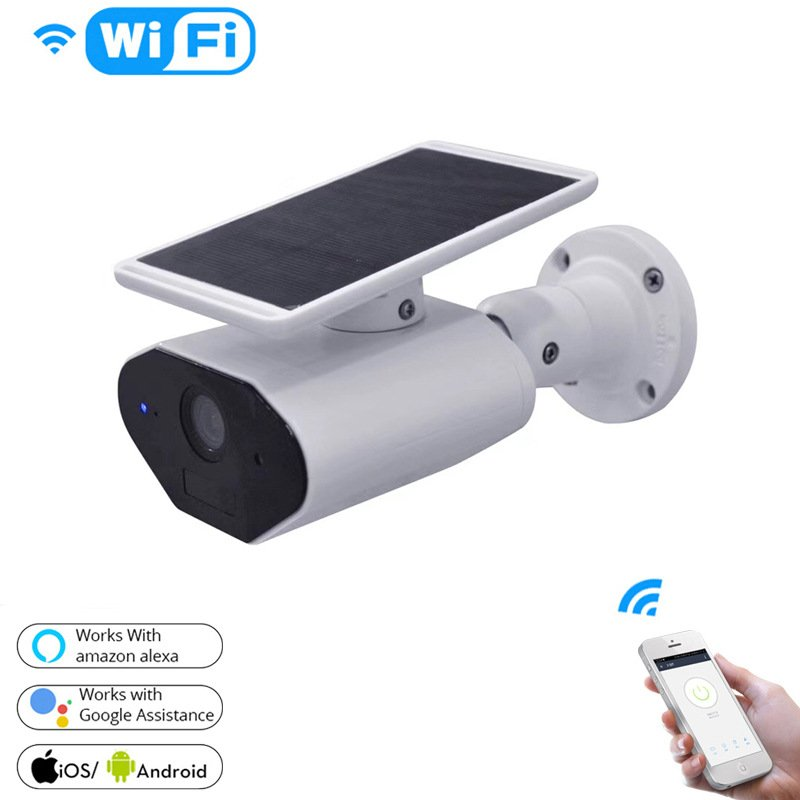 Outdoor Indoor Wireless High Definition WIFI Waterproof Solar Surveillance Camera white