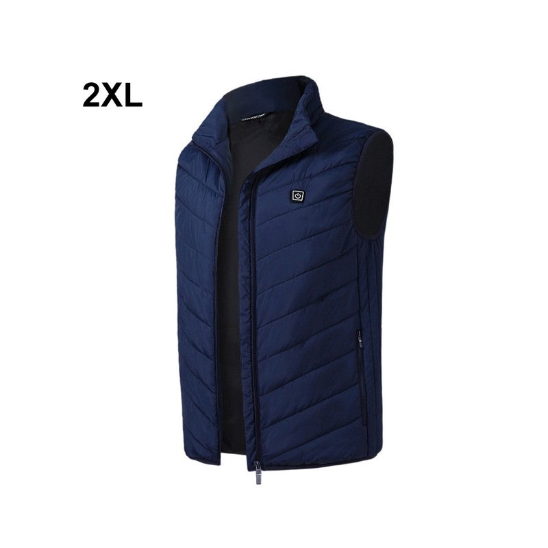 Outdoor Men Electric Heated Vest USB Winter Thermal Cloth Feather Camping Hiking Hunting Jacket blue_2XL