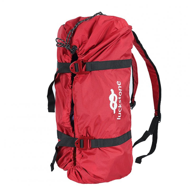 Outdoor Rock Climbing Rope Bag Climbing Gear Backpack Storage Bag with Shoulder Straps red_Free size