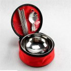 Outdoor Stainless Steel Tableware Set Spoon Chopsticks Double Insulated Bowl with Portable Bag red
