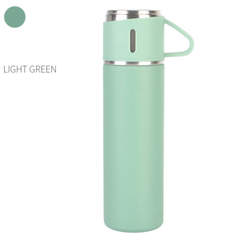 Outdoor Vacuum Cuo for Women Men Large Capacity 304 Stainless Steel Travel Portable Kettle Cup 500ML Light green - thermos cup (cover cup dual-use models)